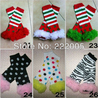 hot sale fashion  Christmas kids leg warmers for baby girl   ruffle 6pcs