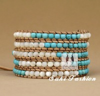 Turquoise Bead Wrap Bracelet, Free Shipping Turquoise With Shell Beads Bracelet. Bracelet for Lover