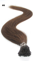 "Medium Brown Color 8# 100 S/Bag 50g 18""20""22"" Stick I tip Hair Pre-bonded 100% Good quality Remy hair extension Free shipping"