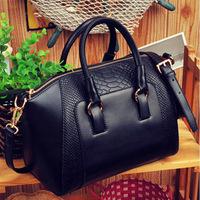 2013 women's handbag crocodile pattern handbag messenger bag one shoulder color block bag fashion black PU