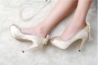 2013 New hot Crystal Rhinestone Bowknot wedding high-heeled sandal/Bridal shoes/bridesmaid shoes/banquet shoes Extra Size
