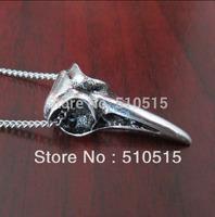 Raven Crow Bird Skull Pendant Necklace