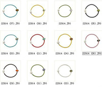 FREE SHIPPING 8PCS Mixed colours of leather bracelets W/glass bead #22914