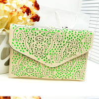 New & Hot ! 2013 women's handbag fashion bag cutout neon color envelope bag one shoulder cross-body female