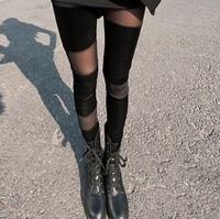 nz085 Free Shopping 1pcs han edition pleuche/net yarn splicing black velvet pant/leggings personality show thin meat ninth pants