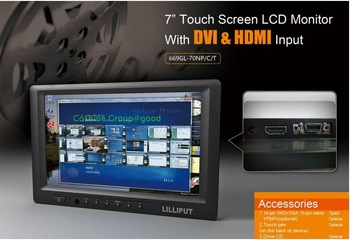 "LILLIPUT 669GL-70NP/C/T 7"" HDMI DVI Touch Screen camera field Monitor High Resolution 800*480"
