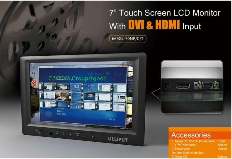 "LILLIPUT 669GL-70NP/C/T 7"" HDMI DVI Touch Screen camera field Monitor High Resolution 800*480(China (Mainland))"