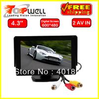 Free Shipping 4.3'' 640*RGB*480 High Resolution Digital Screen LED Backlight Colour Reverse Car Monitor,2 AV Inputs