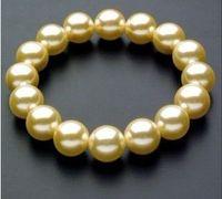 "Wonderful South 10mm Yellow Sea Shell Pearl Bracelet AAA 7.5""Fashion jewelry"