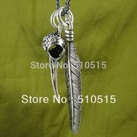 Hummingbird Feather Bird Skull Necklace