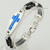 Sideway Cross 316L Stainless Steel Silicon Bracelet 2013 for Mens Jewellery, Gift, Wholesale Free shipping,WB131