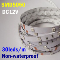 Yellow Color 12VDC 5M 30leds/m 150leds 36W 1800-2100LM Non-waterproof White PCB led Side Emitting LED Strip For Decoration