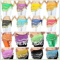 Free Shipping Hot 3 Rows Belly Dance dancing Hip Skirt Scarf Wrap Belt Hipscarf with 128 Coins