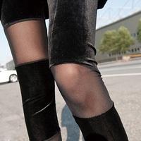 nz085-1wholesale 6 pcs han edition pleuche/net yarn splicing black velvet pants /leggings personality show thin meat ninth pants