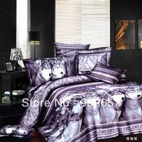 gray wolf animal pattern cheaper 3D bedding set discount oil painting queen full size girls duvet covers set for quilt/comforter