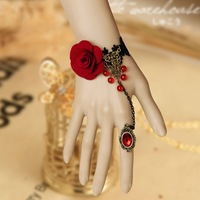 Min.order is $15 (mix) Lamour palace Black Bracelet with Ring Vintage Women Gothic Style Brace lace Personality Wedding jewelry