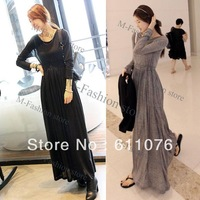 2013 Casual Women OL Round Neck Long Sleeve Slim Maxi Long Dress Spring Fall Khaki Black Free shipping 10152