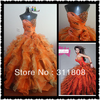 2012 Top Sale Sweet Heart Tulle Organza Ruffles Mutl Colour Ball Gown Quinceanera Dresses