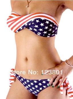 ON SALE swimsuit swimwear Women Sexy bikini STARS STRIPES USA Flag PADDED TWISTED BANDEAU swim suit tube swim wear