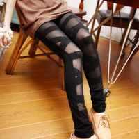 nz081-2 Free Shopping 1 pcs show thin lace Ripped Cut-out Bandage Black Woman Lady Leggings trousers Sexy Pants