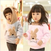 Free shipping 2013  Korean version of the small children's clothing spring Dongkuan thick velvet cute bunny sweater jacket