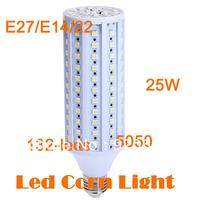 Hot sale production 25W LED Corn lights E27/B22/E14 110V/220V Bulbs Wram White/White 132LED Bulbs Corn Lamps CE&ROHS 8pcs/lot