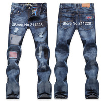 2013  fashion male slim hole patchwork denim trousers men's beggar blue jean pants designer casual embroidery america flag jeans