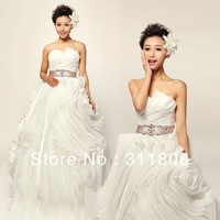 2013 New Style Brand Name Organza Pleats Top Quality Ball Gown Designer Bridal Wedding Dresses