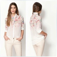 Women's Color Shading Flower Prints Casual Chiffon Shirts,Ladies' Blouse, freeshipping