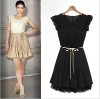 Free Shipping European Woman Patchwork Lace Chiffon Dress Lady Slim Pleated Dress Vintage Beige/Black Size S-XXL MG-065