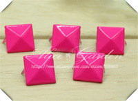 Free Ship!  600PCS/ lot Rose red color Pyramid Studs Rivet Spike 12*12mm phone Belt jewelry DIY