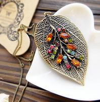 Accessories colorful gem vintage flowerier leaves long design necklace