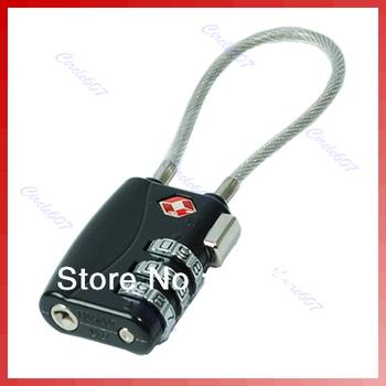 B39Free shipping TSA Resettable 3 Digit Combination Travel Luggage Suitcase Lock Padlock Black