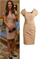 Free Shipping First Lady Princess Elegant Dress Lady Slim Square Collar Straight Dress High Quality  Size S-XL MG-067