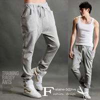 2013 New Cause design Avant-garde Mens Low Drop Crotch training Baggy harem Sweatpants Guylook light grey sporty  Pants leggings