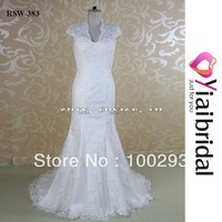 RSW383 Mermaid Lace Cap Sleeve Wedding Dress