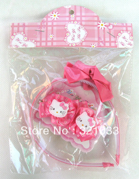 2012 arrival,red/pink 10 Set /lot hello kitty headwear headband hairstick & Hair Accessory ,kids latest hair accessories
