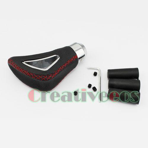 BLACK Leather RED STITCH Manual Car Gear Shift Knob Universal MT Shifter(China (Mainland))