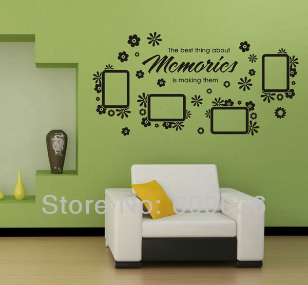 4pcs Photo Picture Frame Removable Wall sticker Decal Home Quote Decor Vinyl Art Memories Wall Lettering Words Decor Black Color(China (Mainland))