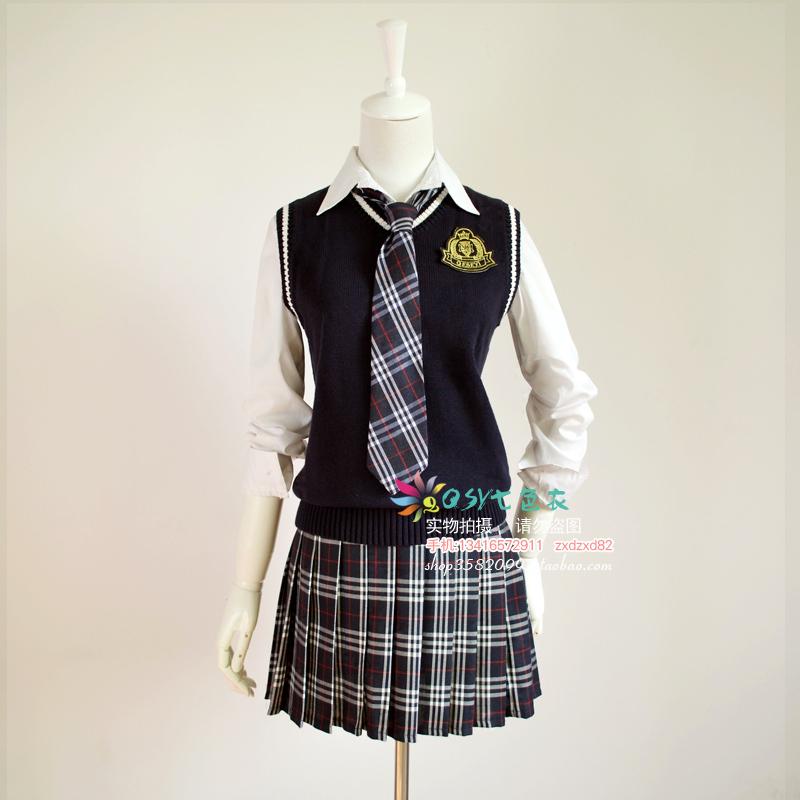 ¡Enamorada del diablo! -font-b-Navy-b-font-blue-vest-sweater-plaid-skirt-costume-fashion-preppystyle-female-set