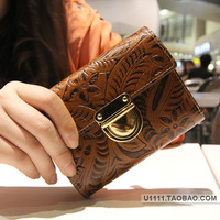 Small bags fashion high quality women's wallet embossed elegant short design wallet