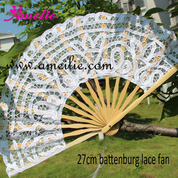 10pcs/lot Free Shipping 27cm  lace embroidery wedding Fan