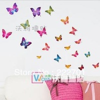 Over 10usd Free shipping (mixed order) 21pcs/set Home Decoration Sticker Butterfly Wall Sticker Self-adhesive Daycare Room