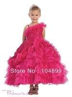 Cute  Fancy One Shoulder Ruffle Organza Princess Ball Gown Pagent Fllower Girl  Dress