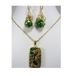 Charming Green jade Dragon Pendant necklace earring set(China (Mainland))