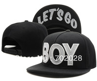 BOY&LET'S GO Snapback Hats Baseball Hip-Hop Racing Hat 1pc Black
