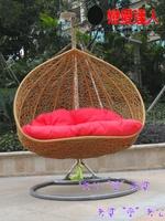 Double hanging basket rattan chair rattan swing indoor bird nest balcony hanging chair rustic lovers swing rocking chair