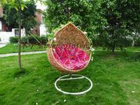 Rattan cradle hanging chair bird nest outdoor swing hanging blue hanging chair leisure chair cushion