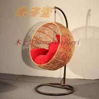 Rattan bird nest outdoor swing hanging blue hanging chair leisure balcony chair leisure chair eco-friendly cushion