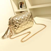 Women's handbag new arrival  rivet tassel bag champagne gold mini chain of packet one shoulder cross-body bags female